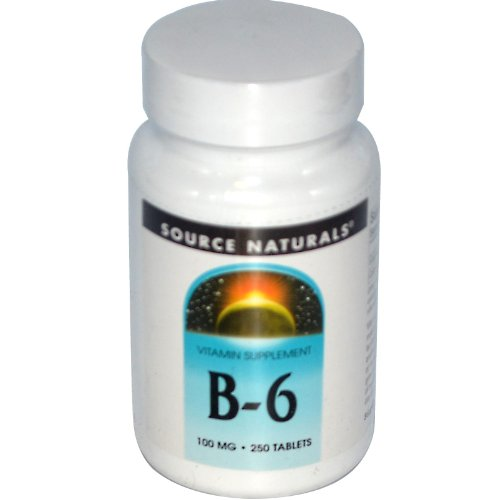 Vitamin B-6, 100 mg, 250 Tabs by Source Naturals (Pack of 6) by Source Naturals