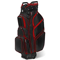 Features: - 100% Dobby Nylon with accents - 14 way divider top with dual lift handles & front position putter well - 13 Pockets including velour-lined valuables pocket - Top front center placed Smart Phone compartment with clear window (p...