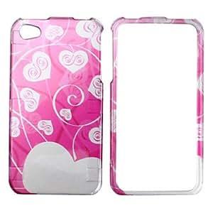 Patrón de corazón blanco estilo de asunto y el parachoques marco para el iPhone 4 y 4S (rosa)