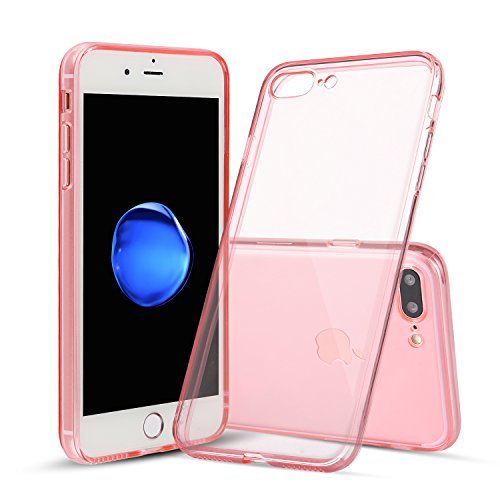 Shamo's Case for iPhone 7 Plus and iPhone 8 Plus Shock Absorption TPU Rubber Gel Transparent with Smudge-Free Technology, Soft Cover (Pink)