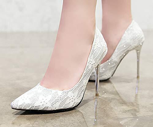 Escarpins Femme Glisser Blanc Chasjla Bout Sur 10cm nbsp;pointu Chaussures Calaier qA60fWg40