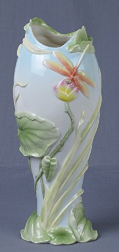 Vase Bud Victorian (11.5 Inch Tall Vase with Orange Yellow Dragonflies and Pink Lilies)