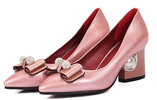 Aisun Damen Strass Schleifen Kunstliche Perlen Kunstleder Pointed Toe Low-Cut Blockabsatz Pumps Beige 46 EU