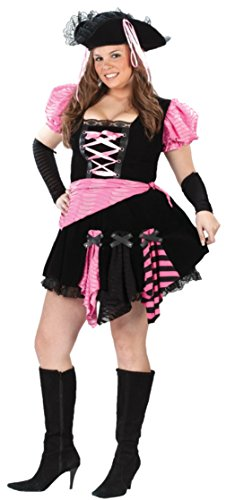 [Funworld Womens Sexy Pirate Pink Punk Theme Party Fancy Halloween Costume, Plus (16-24)] (Plus Size Sexy Pirate Costumes)