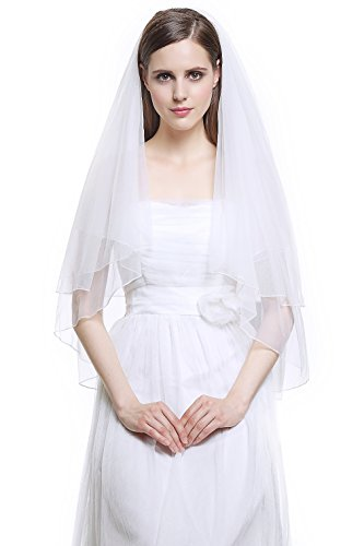 (Wedding Bridal Veil with Comb 2 Tier Cut Edge Fingertip Length 35
