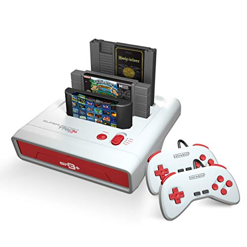 Retro-Bit Super Retro Trio HD Plus 720P 3 in 1 Console System (2019) Bundle with 1-Year Warranty from Geek Theory - for NES, SNES, and Sega Genesis Original Game Cartridges - Red/White (Plug And Play Sega Genesis 80 Games)