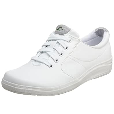 Grasshoppers Women's Stretch Plus Lace-Up Sneaker,White,5 W