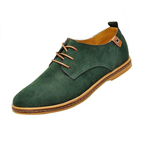 Gleader NUEVOS zapatos de gamuza de cuero de estilo europeo oxfords de los hombres casuales Verde Oscuro(tamano 47)