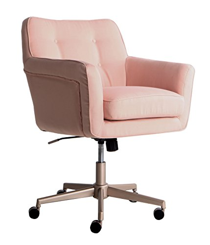 Serta Style Ashland Home Office Chair, Party Blush Pink Twill Fabric