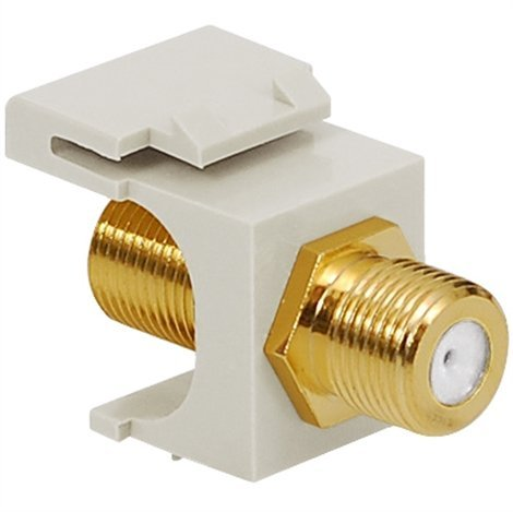 - ICC IC107B5GWH Keystone Jack CATV F-Type Feed-Thru Modular Connector Gold Plated White