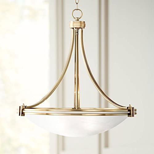 Deco Warm Brass Bowl Pendant Chandelier 21 1 2 Wide Satin White Glass for Dining Room House Foyer Kitchen Island Entryway Bedroom Living Room – Possini Euro Design