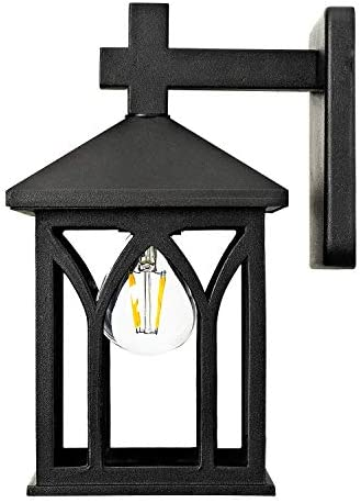 GZBtech Outdoor Wall Light Fixture, Exterior Metal Lantern Sconce in Black Finish, 120V 1-Light Wall Mounted Lighting with Clear Glass Shade Waterproof for Porch Garage Living Room