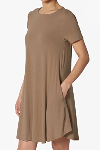 Short Mini Short Crew S~3X Pocket Sleeve TheMogan Dress Basic Trapeze Neck Mocha Tunic wIRaqC