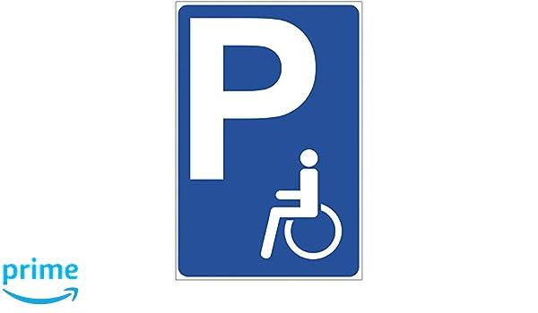 Panneau PARKING handicapés en aluminium/Dibond 140 x 200 mm ...