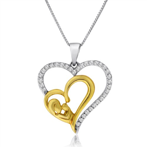 1/4CTTW Two Toned Mother and Baby Heart Pendant in 10KT Gold - Baby Diamond Heart Pendant
