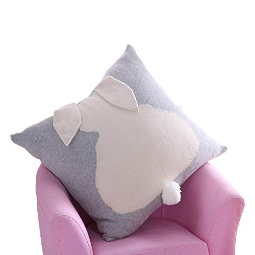 Soft Square Home Decorative Pillowcases Adorable Cotton Throw Pillow Covers Handmade Knitted Set Cushion Cases with Rabbit Shape Fashion Decor for Sofa Bedroom Couch Car Office Cafe