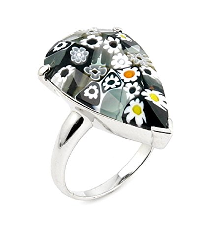 Black And White Drop Shape Murano Millefiori Glass Ring 925 Sterling Silver Size 6