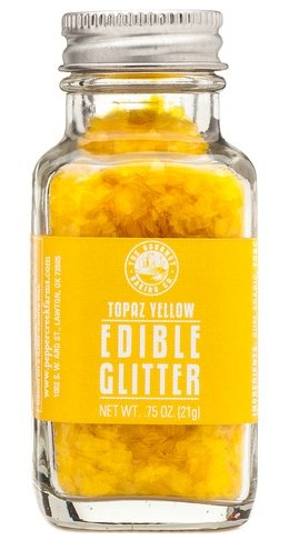 The Gourmet Baking Company Topaz Yellow Edible Glitter .75oz Jar