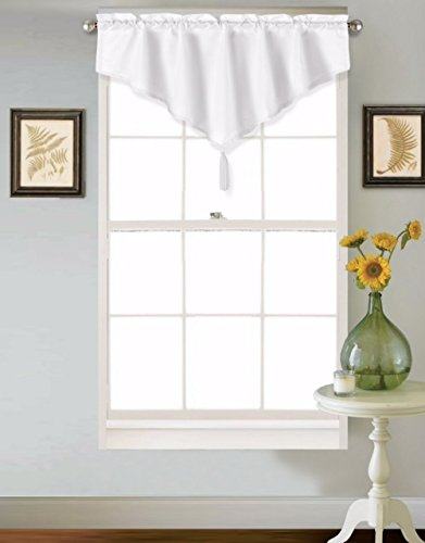 GorgeousHome (VINCE) WHITE 1PC Solid Faux Silk Versatile Multi Use Luxury Rod Pocket Ascot Small Window Valance Topper Waterfall Treatment w/ FringesTassels 40