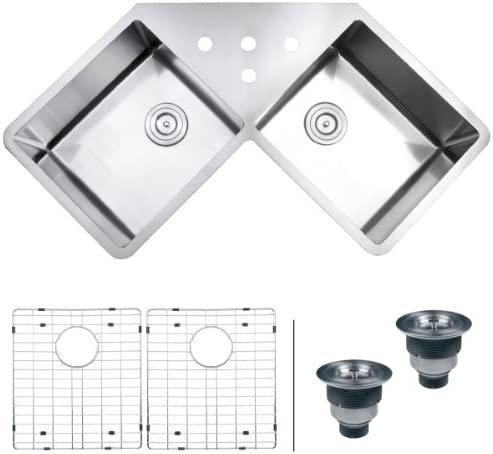 Ruvati RVH8400 Undermount Corner Kitchen Sink 16 Gauge 44 Double Bowl, Stainless Steel