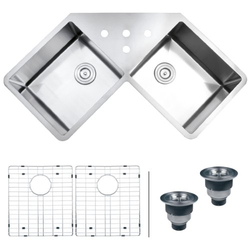 Ruvati RVH8400 Undermount Corner Kitchen Sink 16 Gauge 44 Double Bowl, Stainless Steel
