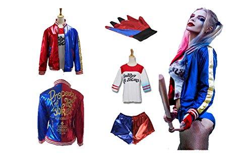 Harley Quinn Joker Costume Set (4PCS) Complete Outfit (Large) (Joker Harley Quinn Costumes)