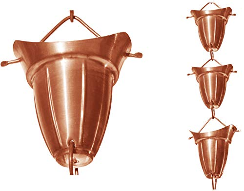 - Monarch Pure Copper Bell Cup Rain Chain, 8-1/2-Feet Length