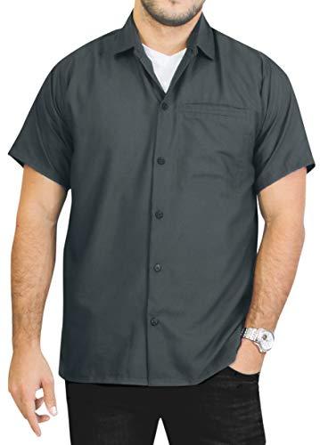LA LEELA Men's Beach Hawaiian Shirt Big and Tall Button Up Shirt 7XL Grey_Aa230 (Best Male Outfits 2019)