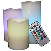 Amazon Lightning Deal 96% claimed: LED Lytes Flameless Candles, Multi Color Option Battery Operated Set of 3 Ivory Wax and Remote