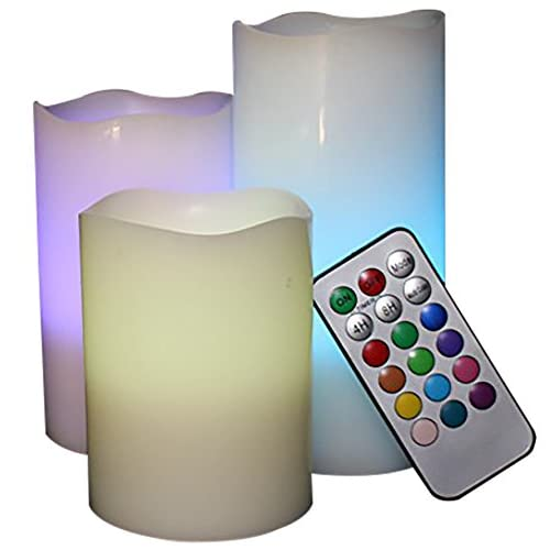 "Multi-Color Flameless LED Candles - Set of 3, Battery Operated Wax Candles, 3"" wide and 4"" 5"" 6"" tall,..."
