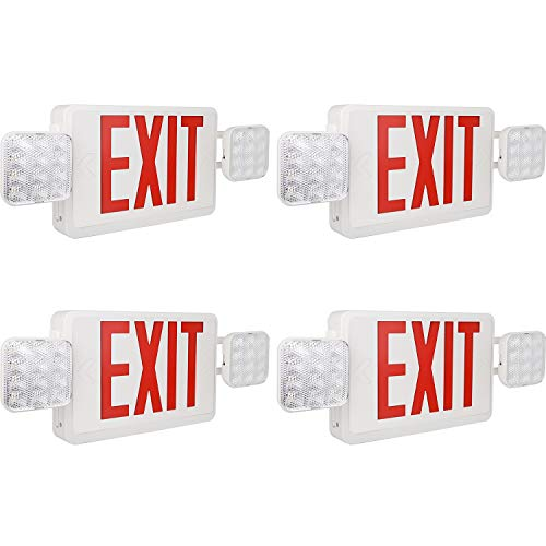 Hykolity Red Exit Sign Double Face LED Combo Emergency Light with Adjustable Two Head and Backup Battery - 4 Pack