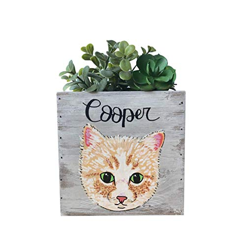 Handmade Custom Cat Portrait Wooden Planter - Handmade Succulent Planter - Hand Painted Kitty Planter - Cat Lovers Planters - Customize it with a Portrait of your Little Ball of ()