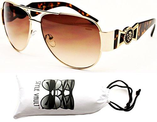 A175-vp Lion Logo Turbo Aviator Sunglasses (H7801 Gold/Tortoise Brown, - Sunglasses Lion