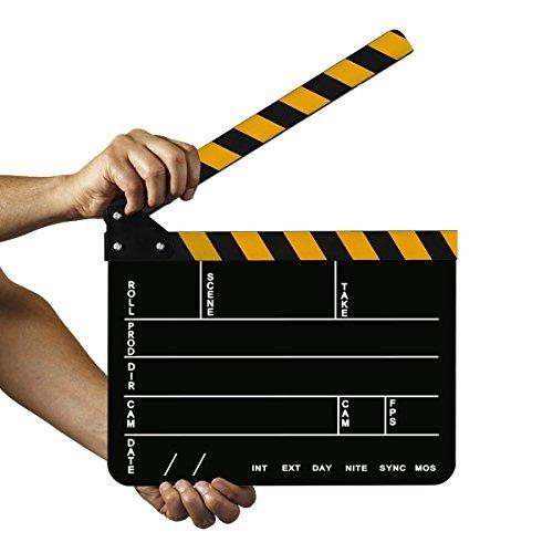 AFAITH TV Film Movie Chalkboard Clapper board,Acrylic Plastic Dry Erase Director's Film Clapboard Slate - Yellow SA091