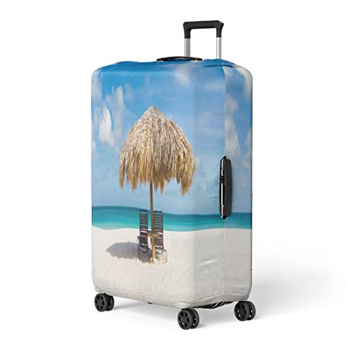Pinbeam Luggage Cover Straw Umbrella on Eagle Beach Aruba Lovely Summer Travel Suitcase Cover Protector Baggage Case Fits 22-24 inches