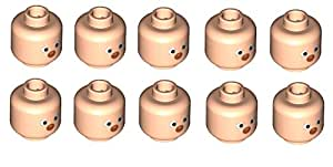LEGO City - Cabeza de payaso para figuras (10 unidades), ojos blanco y nariz roja