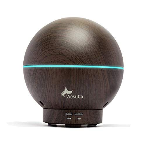 Essential Oil Diffuser 400ml Aromatherapy Essential Oils Wood Grain Mist Humidifiers for Home Office Bedroom Yoga Spa Ultrasonic with 7 LED Modes Night Lights Changing and Waterless Auto Shut-Off