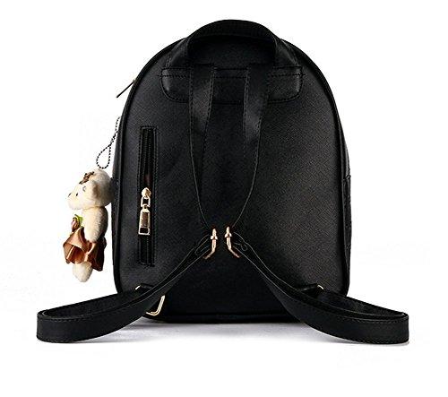 YAAGLE Damen Rucksack PU Leder Schultertasche Campus Uni Schultasche mit Anhänger Bärchen Backpack+Handtasche 2 Pcs weinrot