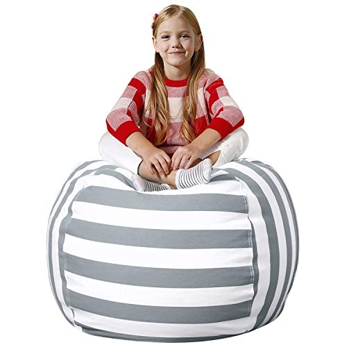 Aubliss Stuffed Animal Bean Bag Storage Chair, Beanbag Covers Only for Organizing Plush Toys. Turns into Bean Bag Seat for Kids When Filled. Premium Cotton Canvas. 38