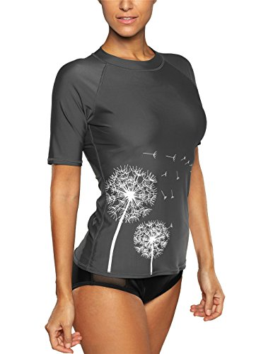 Vegatos Womens Short Sleeve Rashguard Swimwear Rash Guard Athletic Tops Rash Guard Swim,XX-Large,Grey by Vegatos (Image #4)