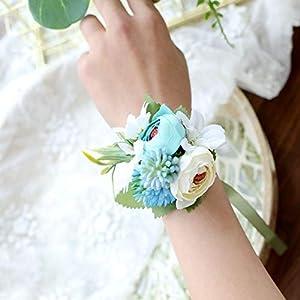 S_SSOY Wrist Corsage Wedding Bridal Bridesmaid Wrist Flower Corsage Hand Flower for Wedding Prom Homecoming Party 21