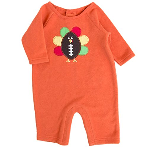 Good Lad Newborn/Infant Orange Fleece Onepiece Turkey Applique (12M)