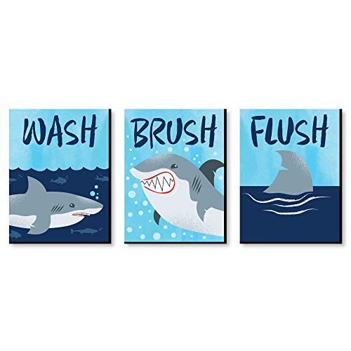 "Shark Zone - Kids Bathroom Rules Wall Art - 7.5"" x 10"" - Set of 3 Signs - Wash, Brush, -"
