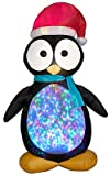 Gemmy Airblown Inflatable Kaleidoscope Penguin Wearing Santa Hat - Indoor Outdoor Holiday Decoration, 7.5-foot Tall x 4.5-foot Wide