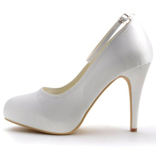 ip Haut Blanc Satin Mariee Chaussures Ep11049 Pompes Elegantpark De Boucle Inner Ferme Plateforme Bout Confort 85ax6Uqw
