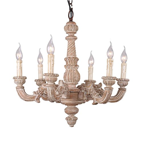 can V Chandelier Retro Solid Wood Pendant Lamp, Living Room Restaurant Lamp Made of Old Hand-Carved Coffee Shop Clothing Store Lights (Hand Carved Wood Chandelier Light)