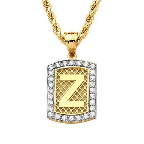 Bling Chunk - MR. BLING 10K Yellow Gold Dog Tag Initials Charm Pendant w/CZ Border (Available from A-Z) (Z)