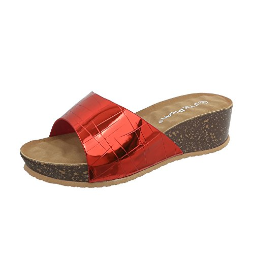 Ital-Design Pantoletten Damenschuhe Keilabsatz/Wedge Keilabsatz Sandalen & Sandaletten Rot A-93