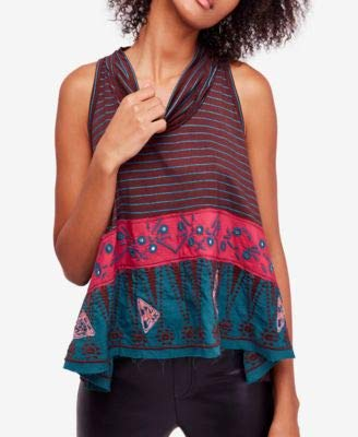 Luxury Cowl Neck Top - Free People Womens North South Embroidered Cowl Neck Tank Top Brown L