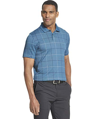 Van Heusen Men's Big and Tall Flex Short Sleeve Stretch Windowpane Polo Shirt, Turquoise Washington Blue, 2X-Large (Advantage Pique Knit)